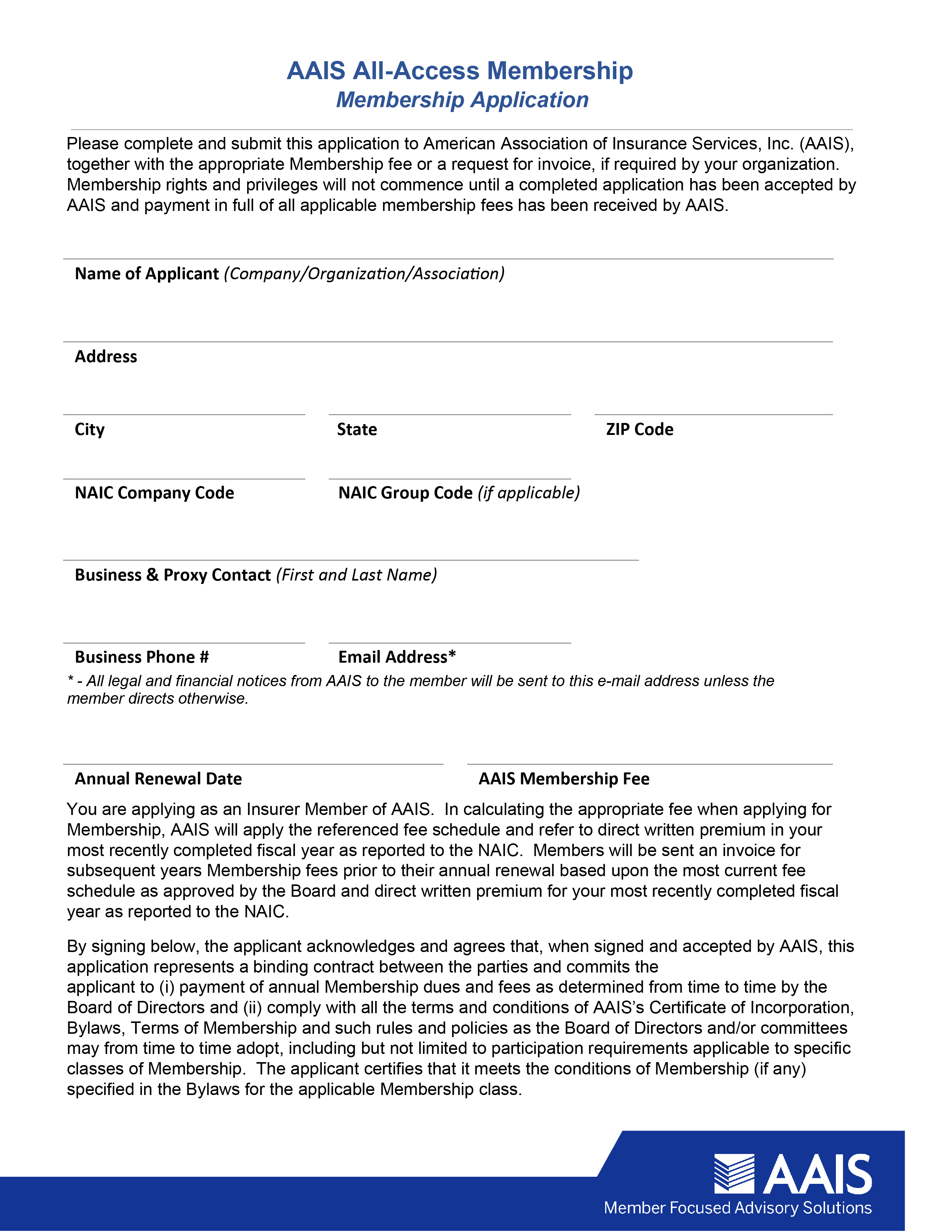 AAIS Membership Application
